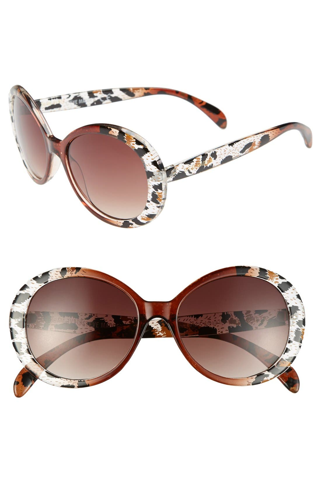 Main Image - Steve Madden 50mm Animal Print Oval Sunglasses