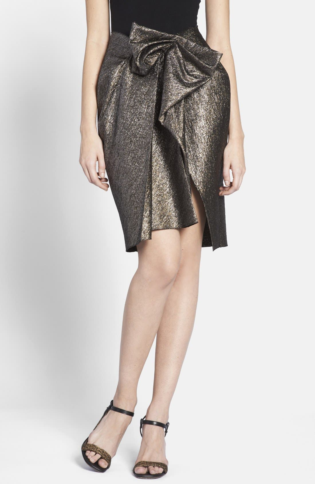 Alternate Image 1 Selected - Lanvin Front Bow Taffeta Skirt