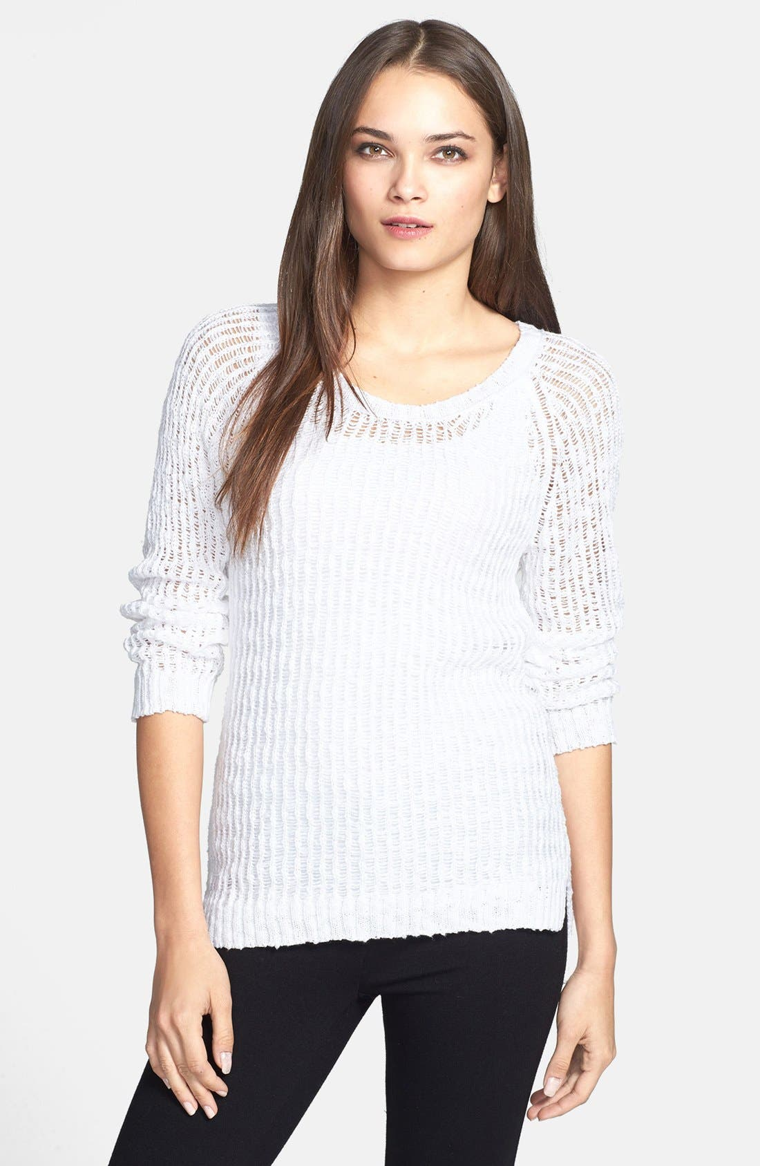 Alternate Image 1 Selected - Eileen Fisher Scoop Neck Open Stitch Organic Cotton Pullover (Petite)