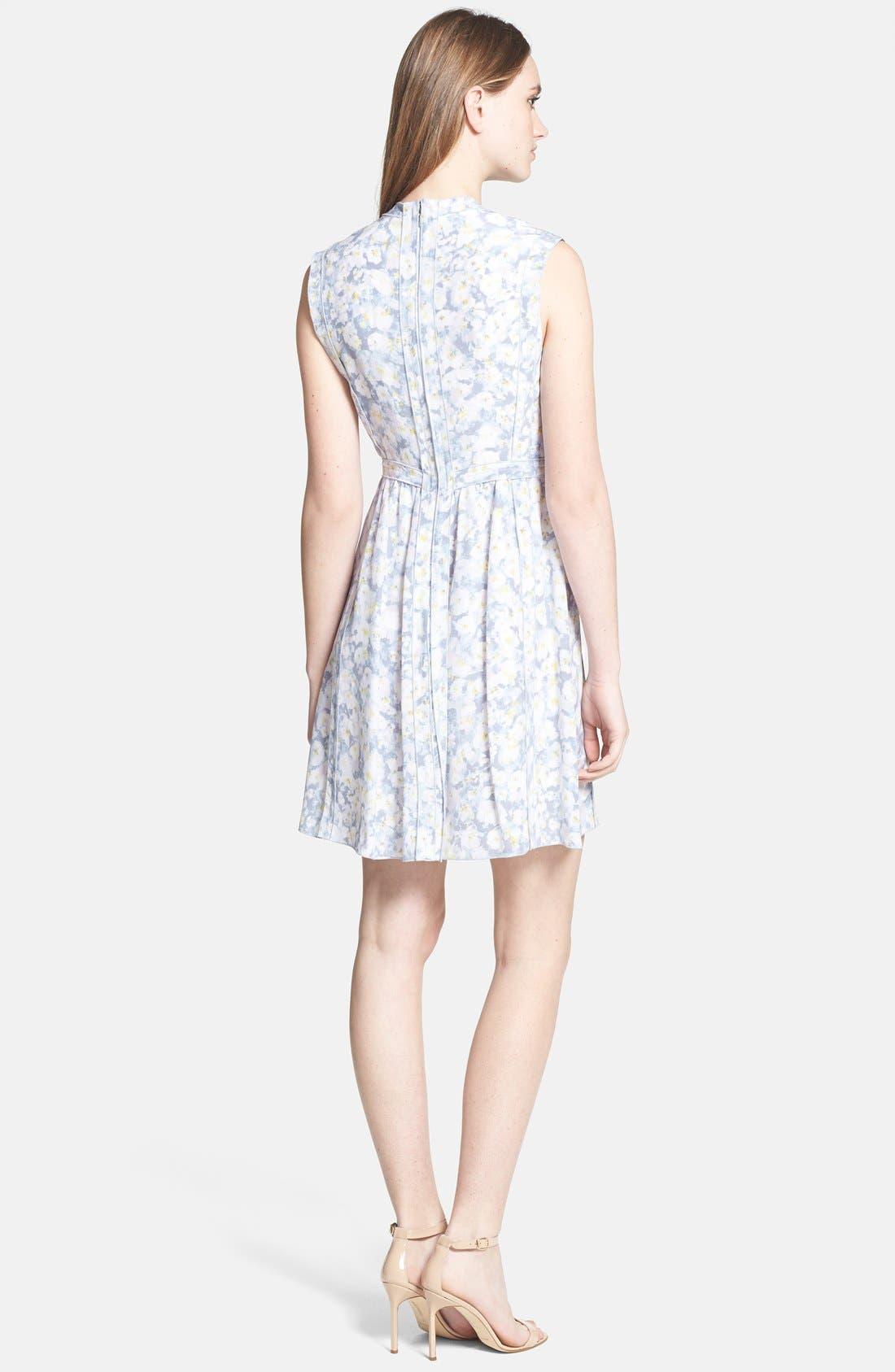 Alternate Image 2  - Rebecca Taylor Pleat Front Floral Silk Dress