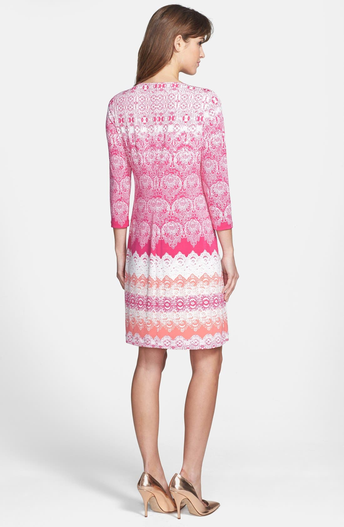 Alternate Image 2  - Donna Morgan Lace Print Shift Dress