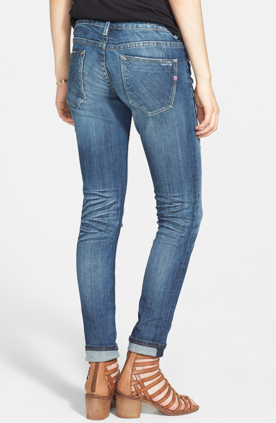 Alternate Image 2  - Vigoss Destroyed Crop Skinny Boyfriend Jeans (Dark) (Juniors)