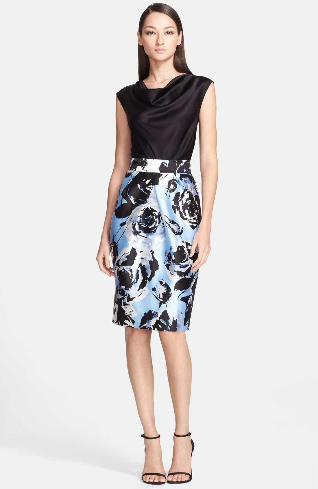 Main Image - St. John Collection Rose Blossom Print Mikado Dress