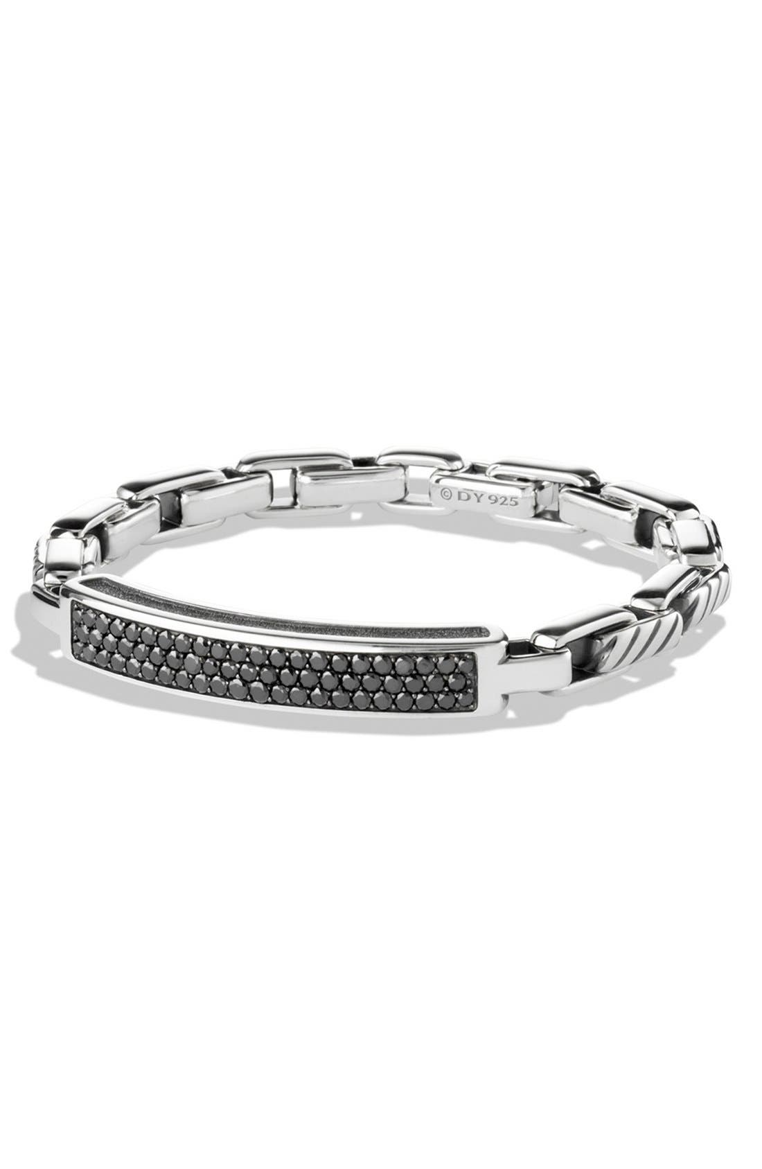 Alternate Image 1 Selected - David Yurman 'Modern Cable' ID Bracelet with Black Diamonds