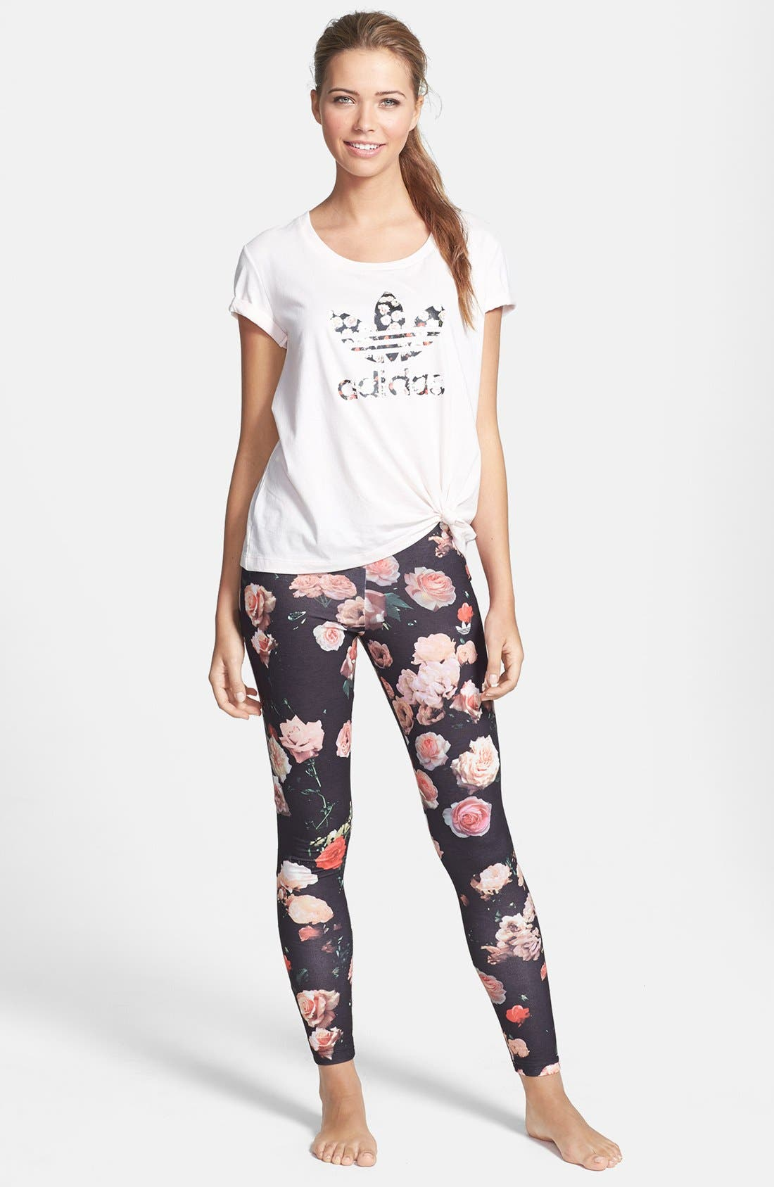 Alternate Image 3  - adidas Originals Trefoil Rose Leggings
