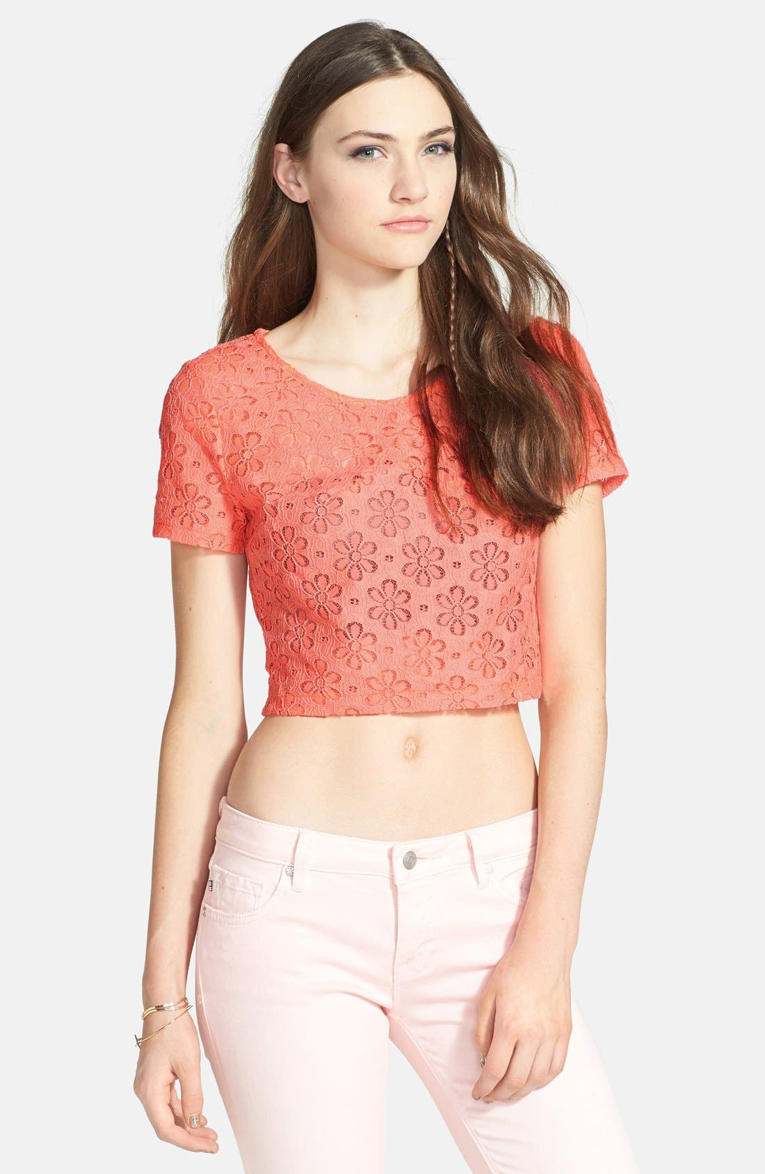 Alternate Image 1 Selected - Lush Button Back Lace Crop Top (Juniors) (Online Only)