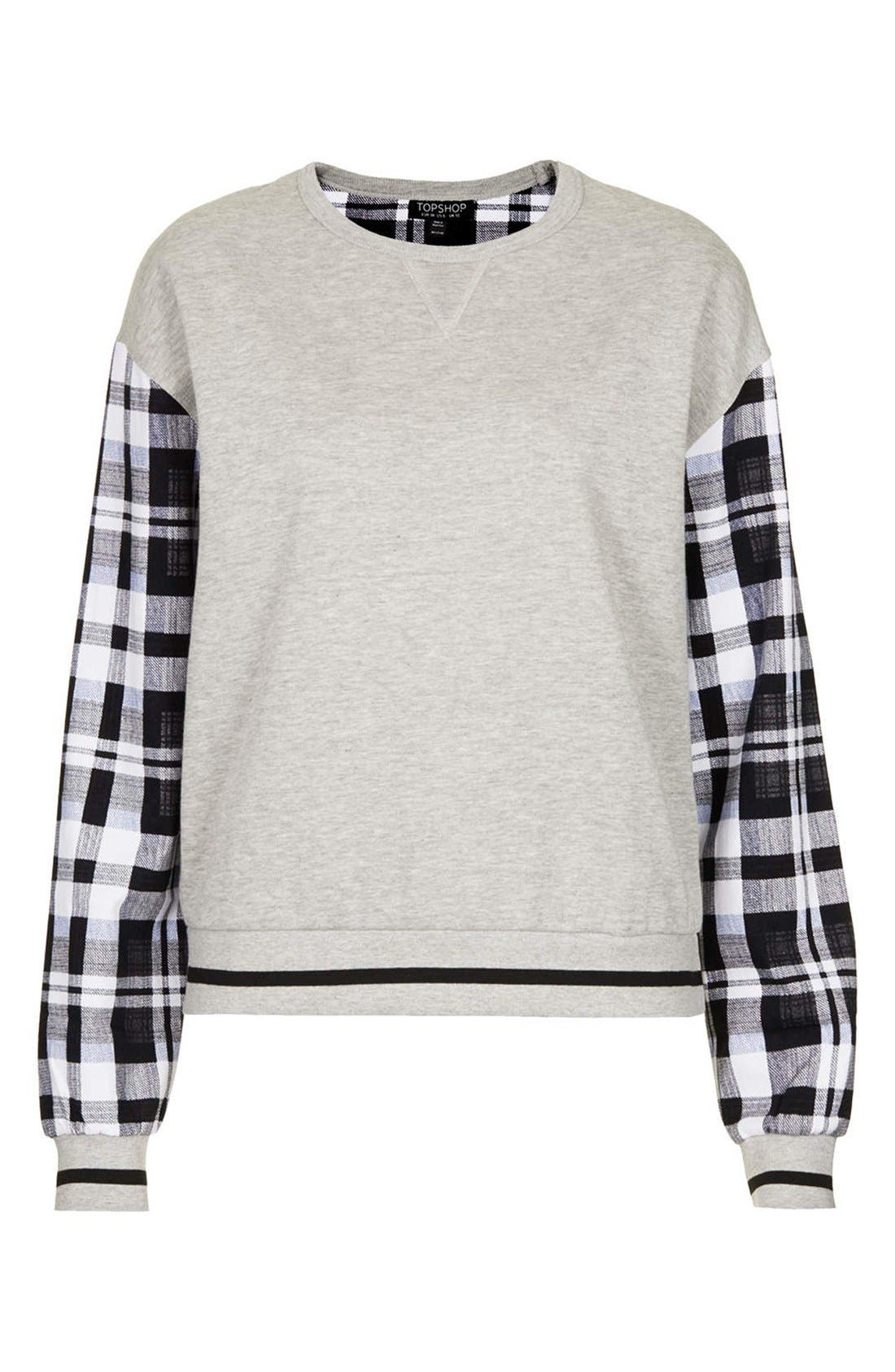 Alternate Image 3  - Topshop Check Sleeve Sweatshirt