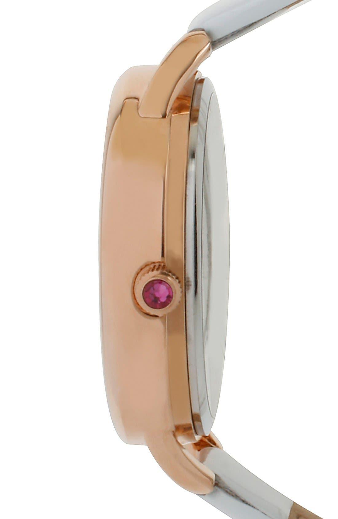 Alternate Image 3  - Betsey Johnson Pavé Heart Dial Leather Strap Watch, 40mm