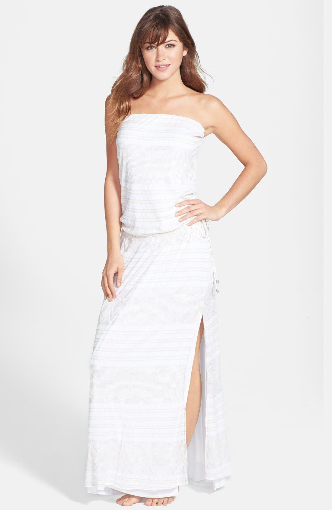 Main Image - Vitamin A® 'Olivia' Strapless Crochet Maxi Dress