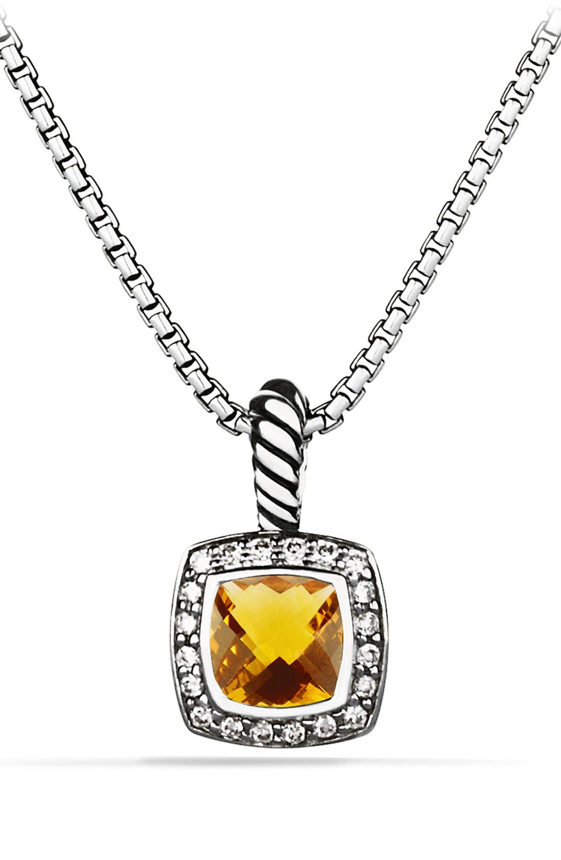 David Yurman 'Albion' Petite Pendant with Semiprecious Stone & Diamonds on Chain
