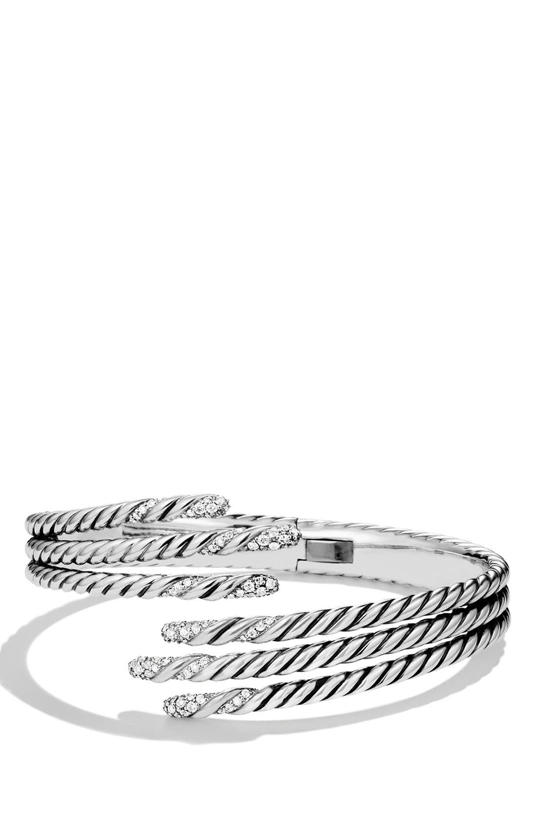 David Yurman 'Willow' Open Three-Row Bracelet with Diamonds