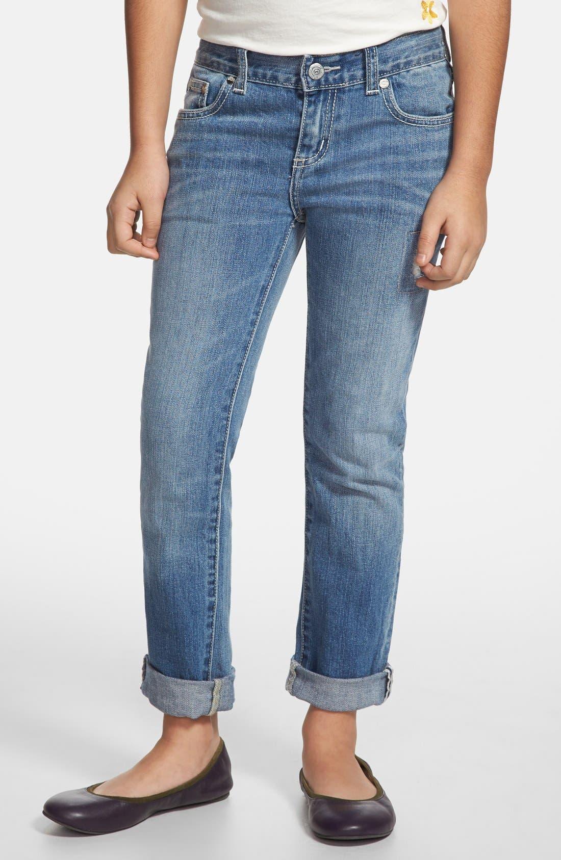 Alternate Image 1 Selected - Peek 'Greta' Stretch Cotton Jeans (Toddler Girls, Little Girls & Big Girls)