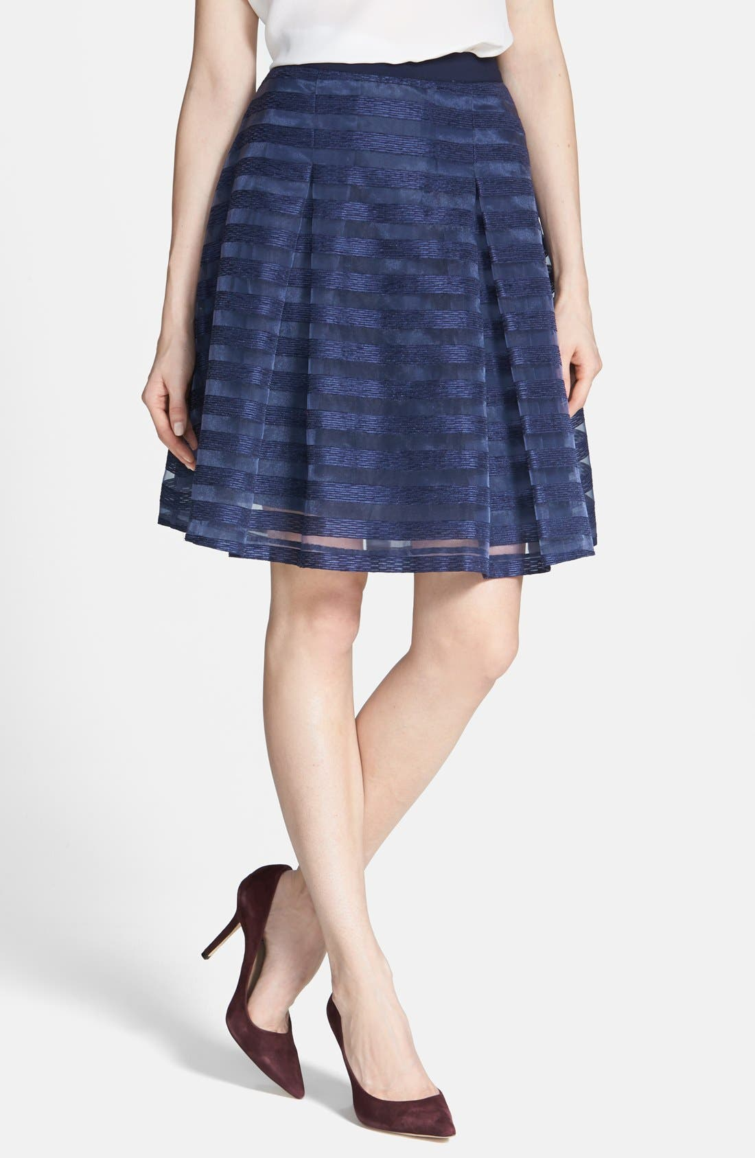 Alternate Image 1 Selected - 1.STATE Organza Stripe Skirt