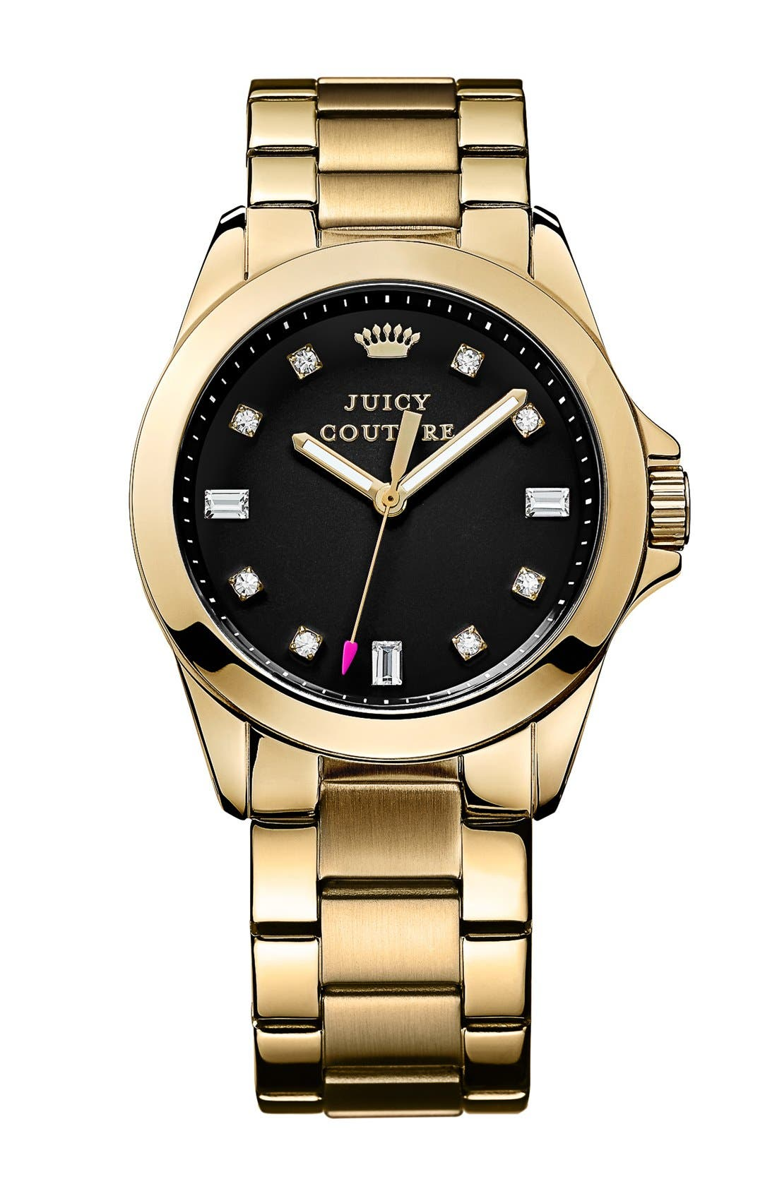 Main Image - Juicy Couture 'Stella' Crystal Index Round Bracelet Watch, 36mm