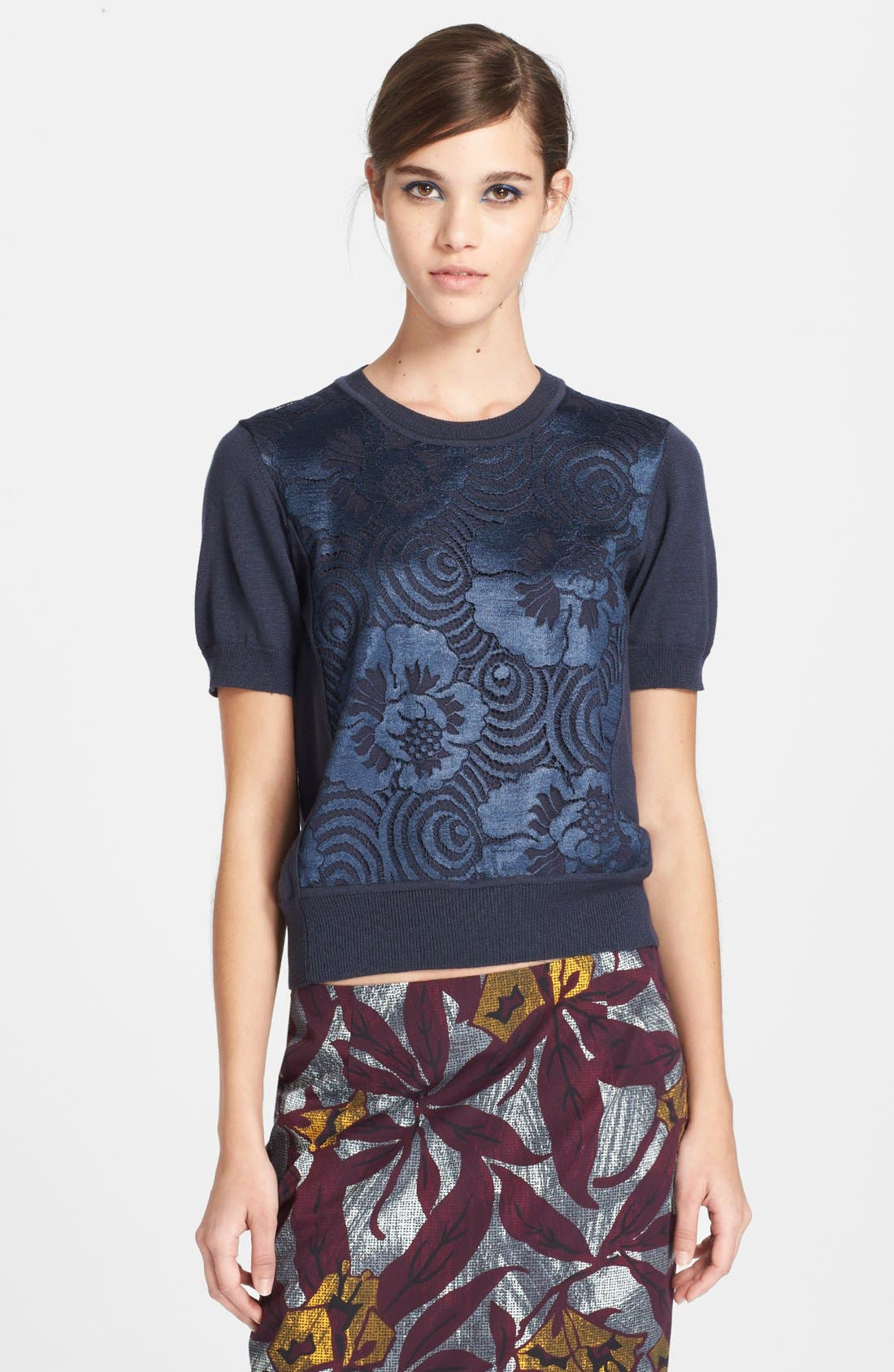Main Image - MARC JACOBS Lace Front Wool & Silk Sweater