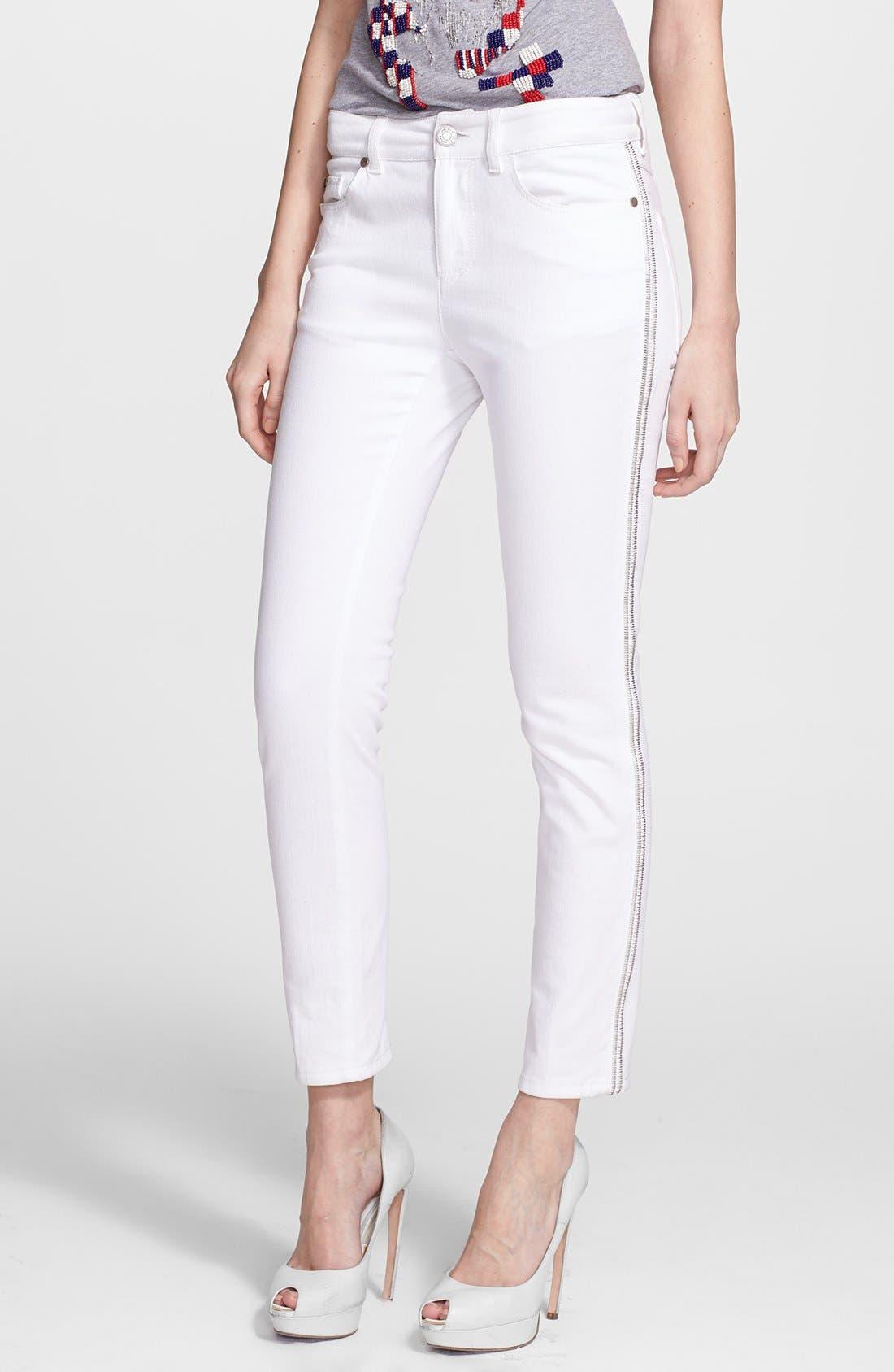 Alternate Image 1 Selected - Alexander McQueen Zip Detail Skinny Ankle Jeans
