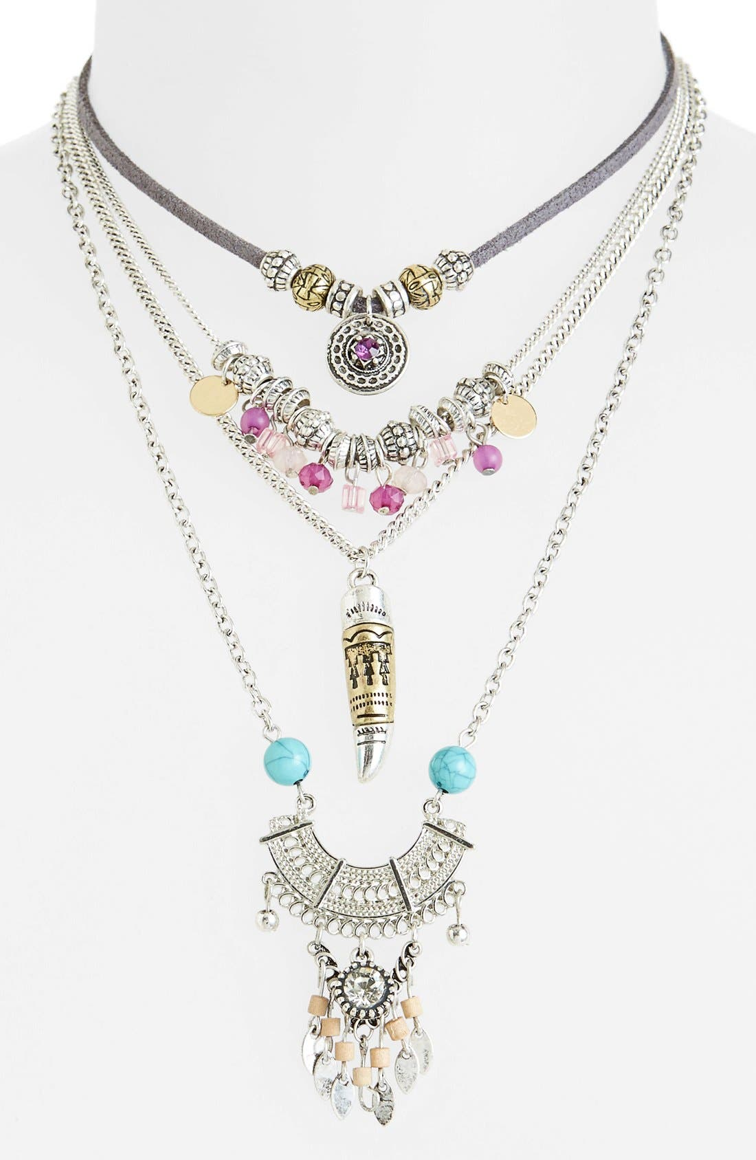 Main Image - Topshop Layered Charm Necklace