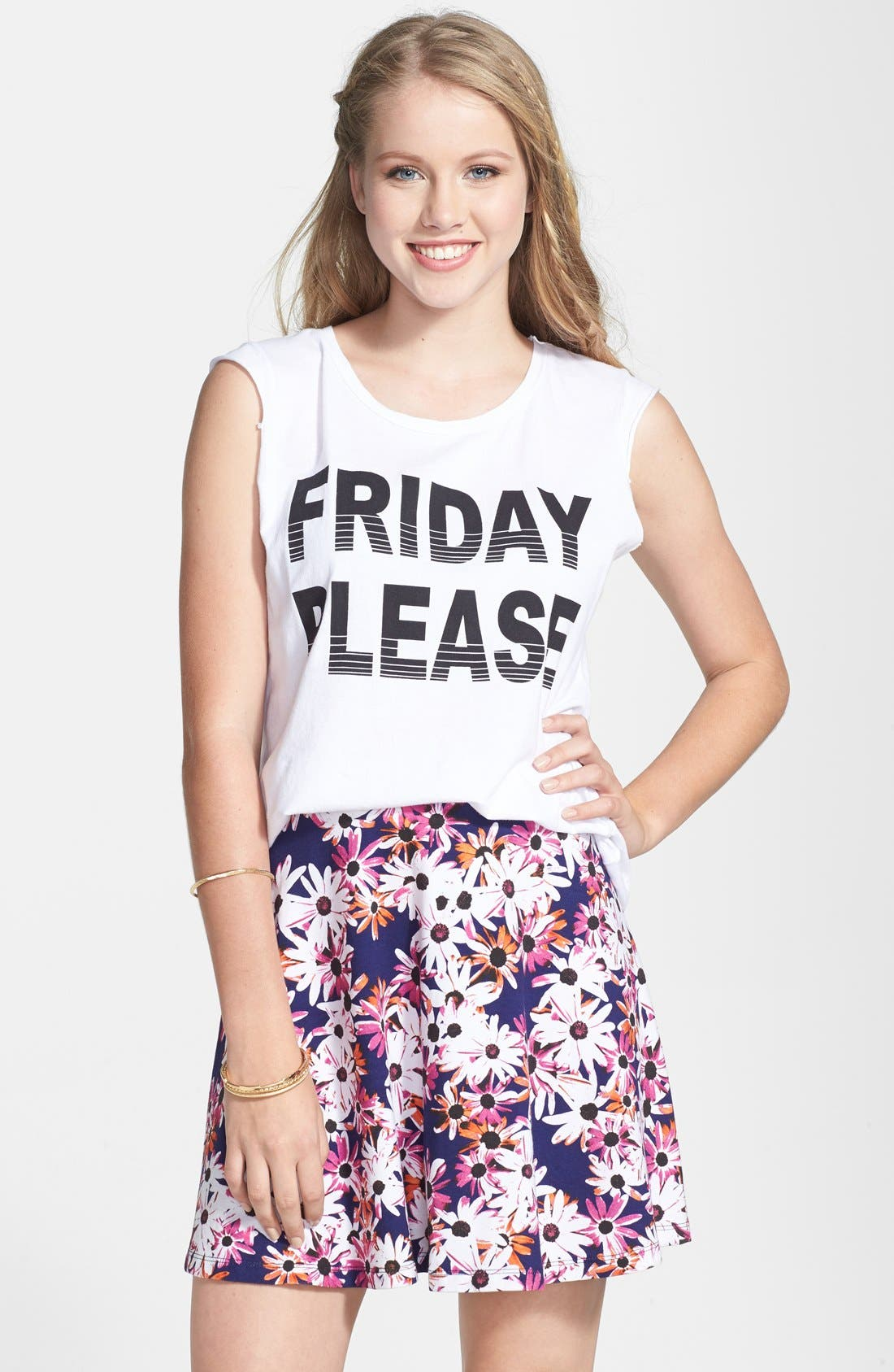 Alternate Image 1 Selected - Project Social T 'Friday Please' Muscle Tee (Juniors)