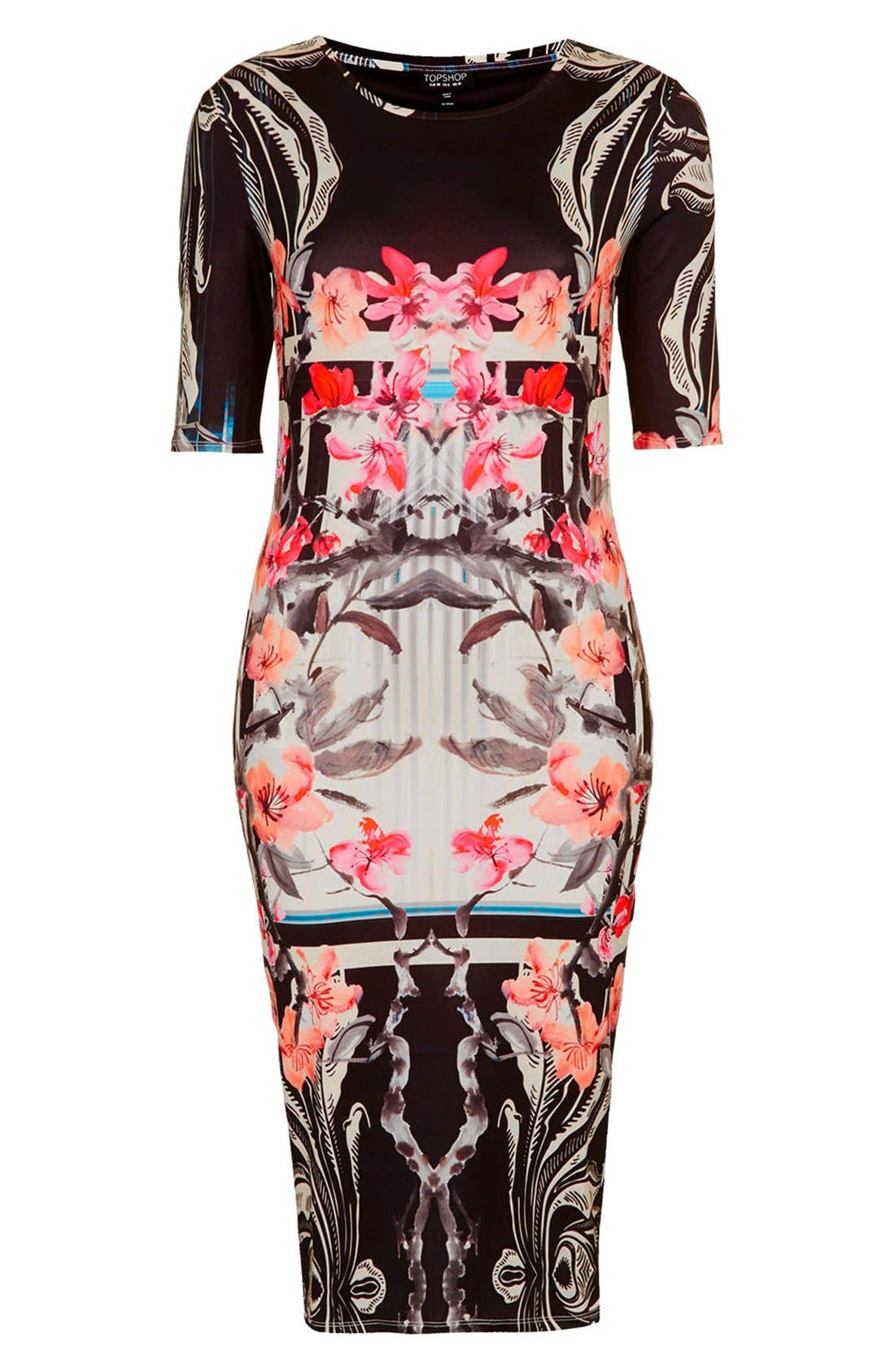 Alternate Image 3  - Topshop 'Orchid Mirror' Print Body-Con Dress