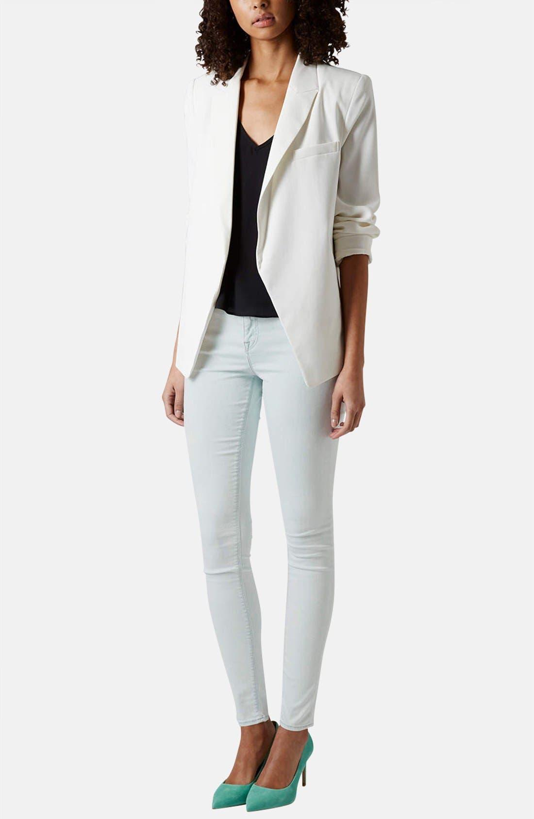 Alternate Image 5  - Topshop Moto 'Leigh' Mid Rise Skinny Jeans (Light Denim)