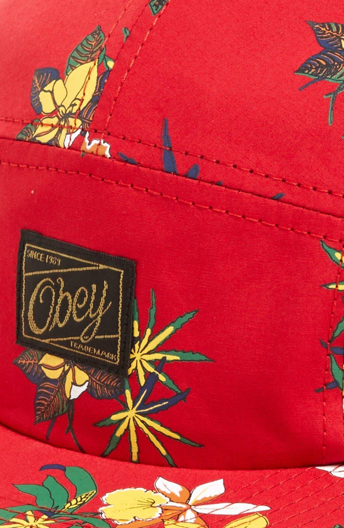 Alternate Image 2  - Obey Floral Print Five-Panel Cap