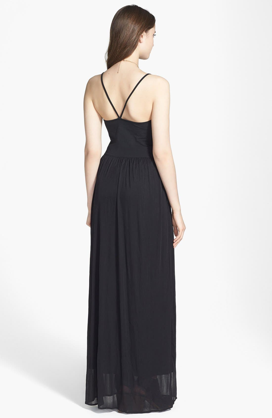 Alternate Image 2  - Frenchi® V-Strap Maxi Dress (Juniors)