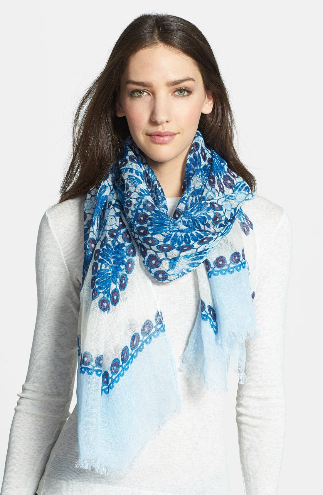 Alternate Image 1 Selected - Tory Burch 'Printed Crochet' Linen Scarf
