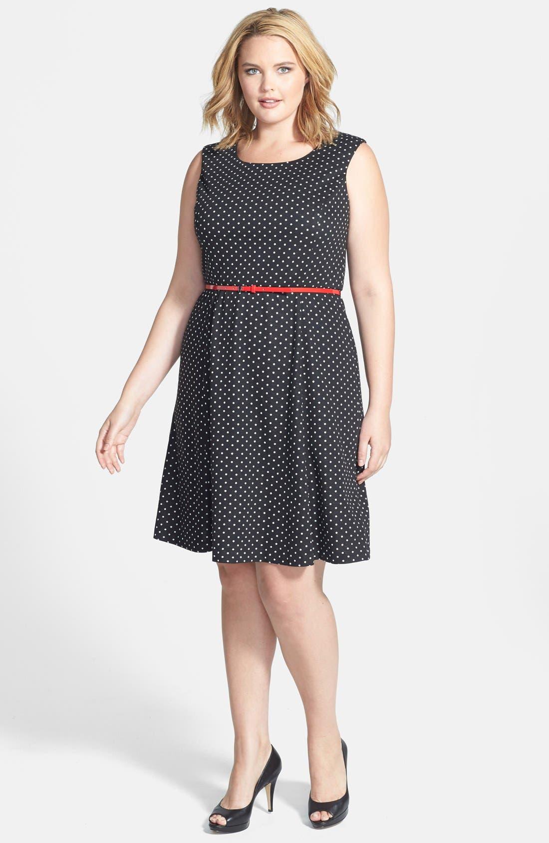 Main Image - Anne Klein Belted Polka Dot Ponte Dress (Plus Size)