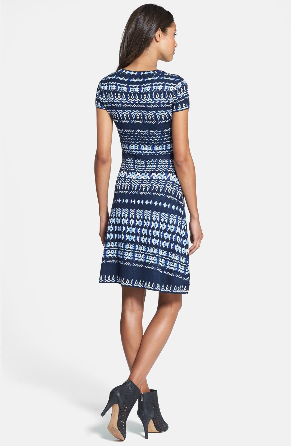 Alternate Image 2  - BCBGMAXAZRIA Cap Sleeve Intarsia Knit Sweater Dress (Regular & Petite)