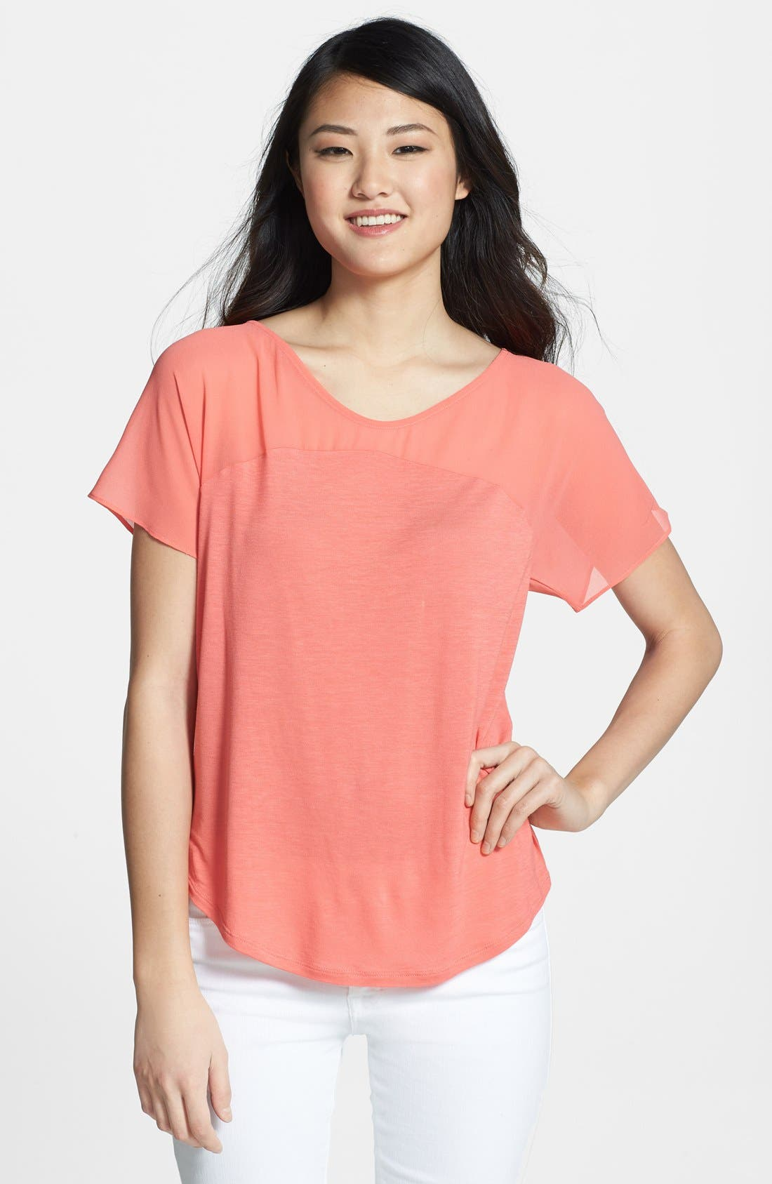 Alternate Image 1 Selected - NYDJ Sheer Yoke Short Sleeve Top