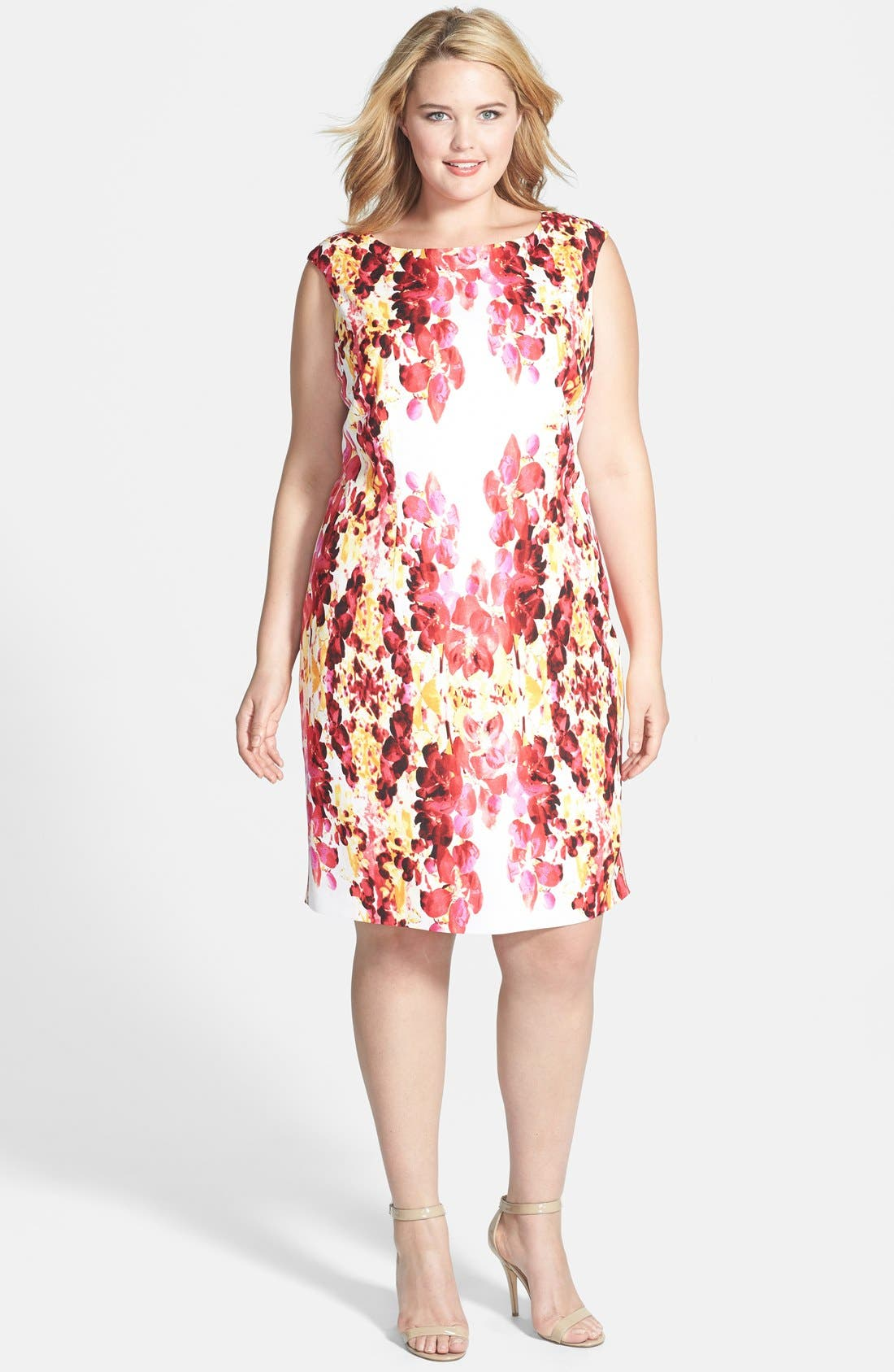 Alternate Image 1 Selected - Adrianna Papell Placed Print Dress (Plus Size)
