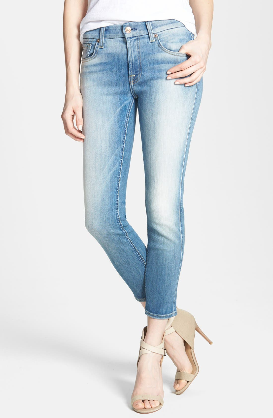 Main Image - 7 For All Mankind® 'Kimmie' Crop Skinny Jeans (Light Cobalt Blue)