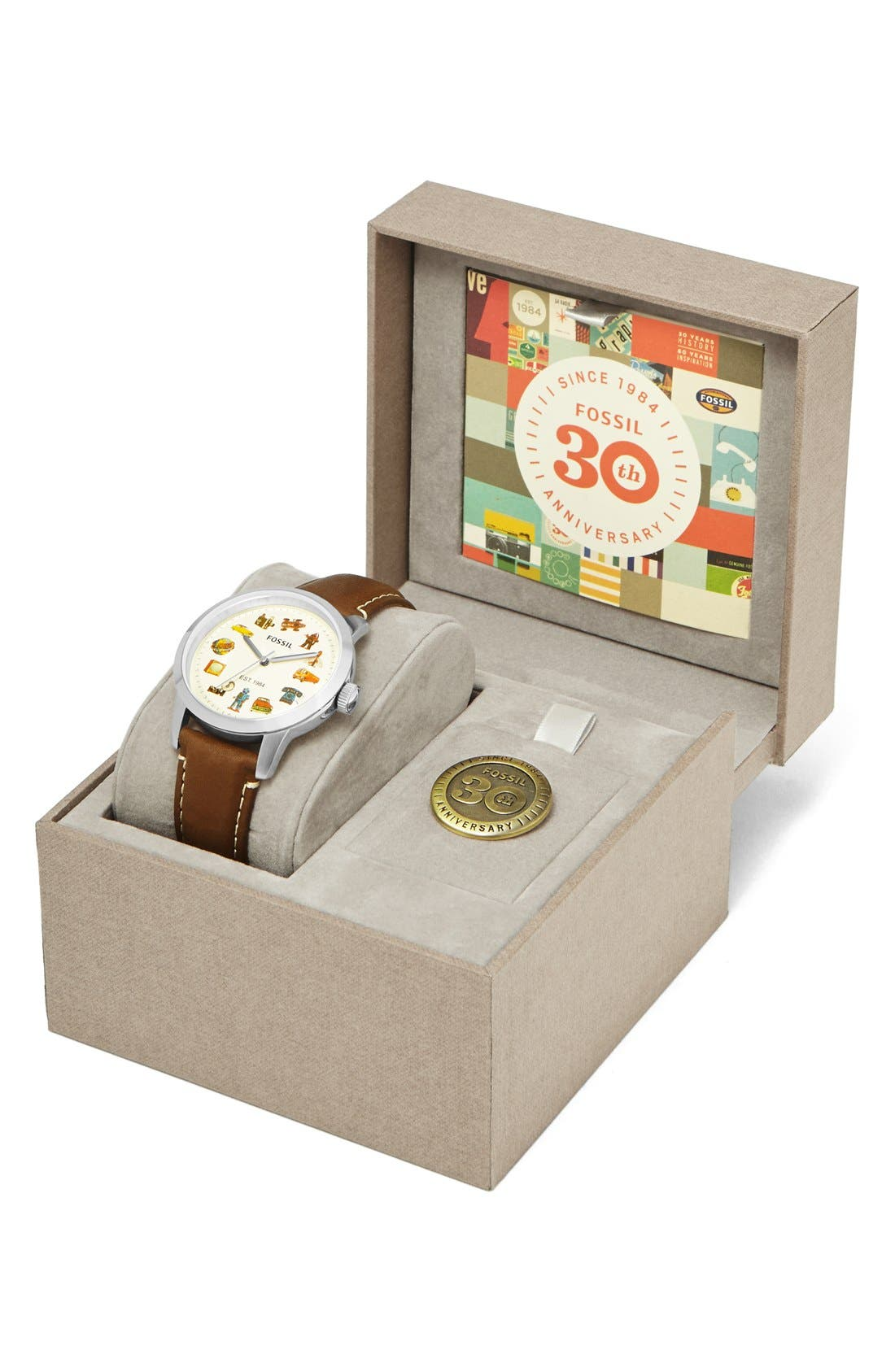 Alternate Image 2  - Fossil 'Townsman' Graphic Index Leather Strap Watch, 40mm (Limited Edition)