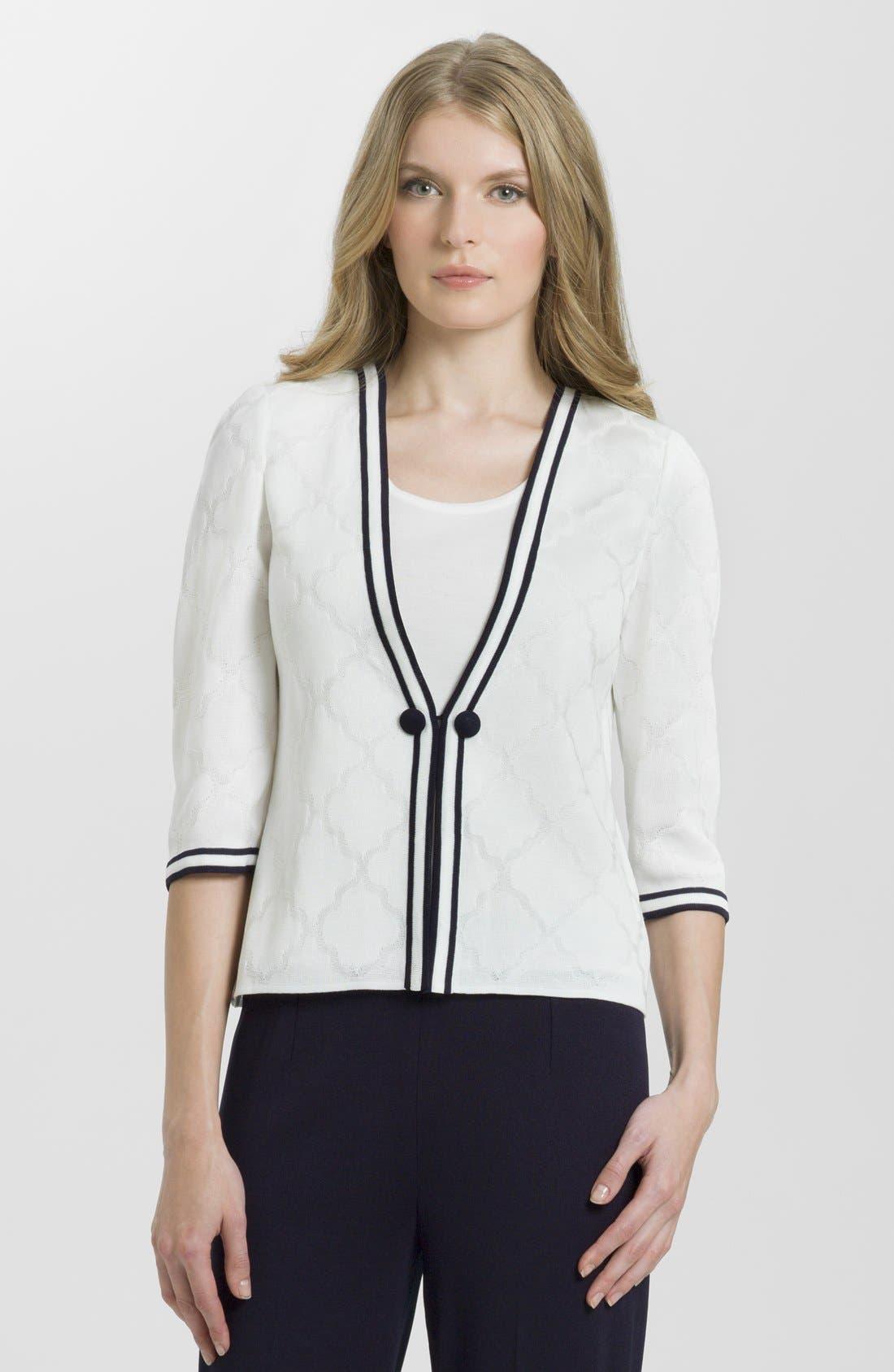 Alternate Image 1 Selected - Ming Wang V-Neck Jacquard Jacket