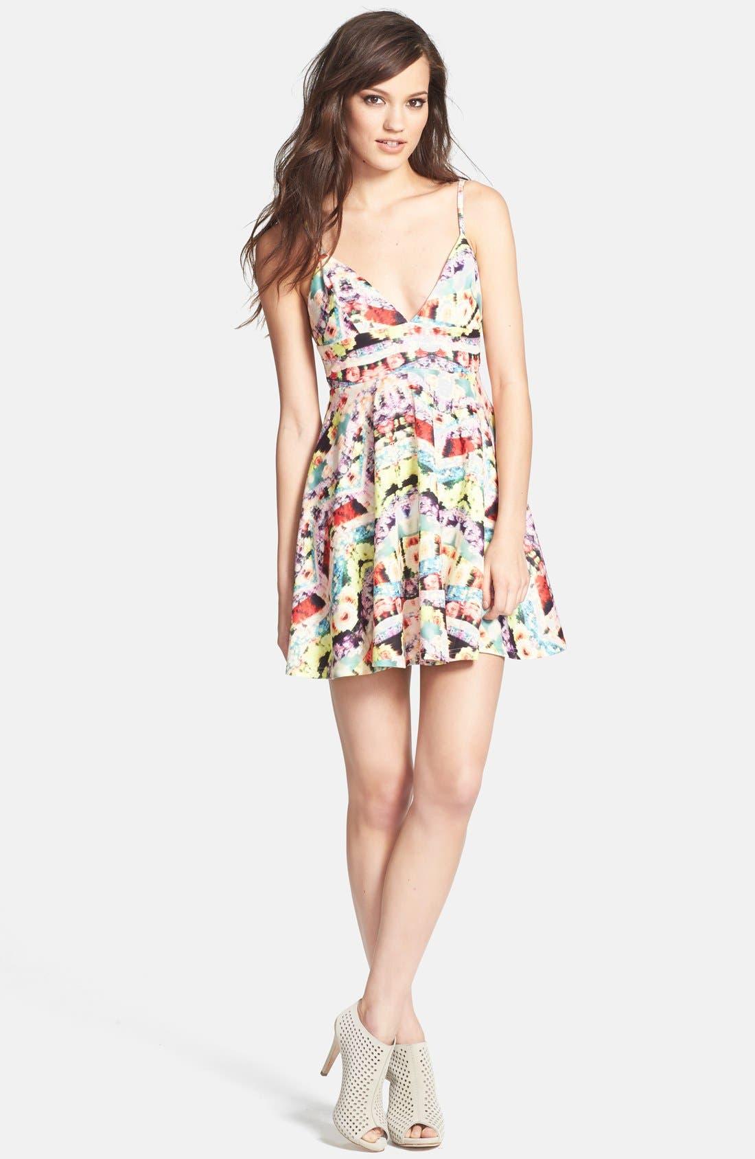 Main Image - MINKPINK 'Spring Wave' Print Fit & Flare Dress
