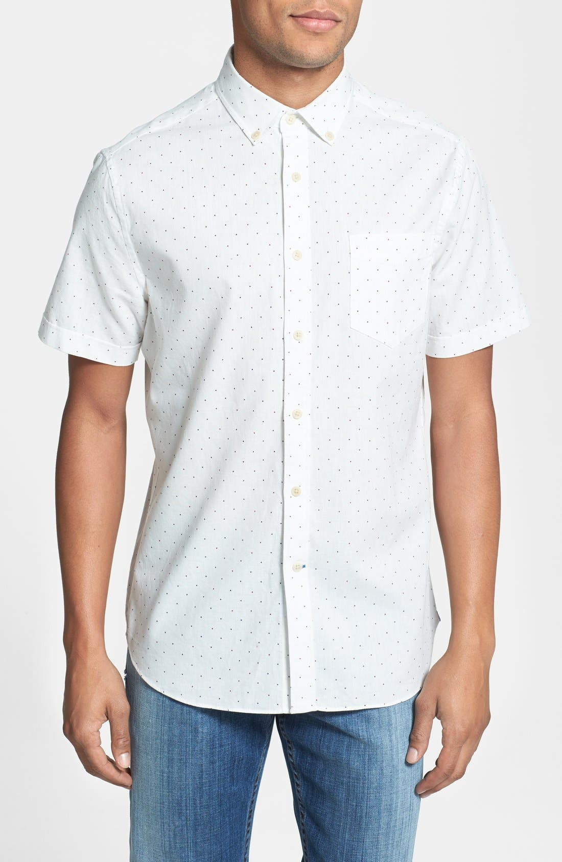 Alternate Image 1 Selected - Haspel 'Rampart' Slim Fit Dot Short Sleeve Sport Shirt