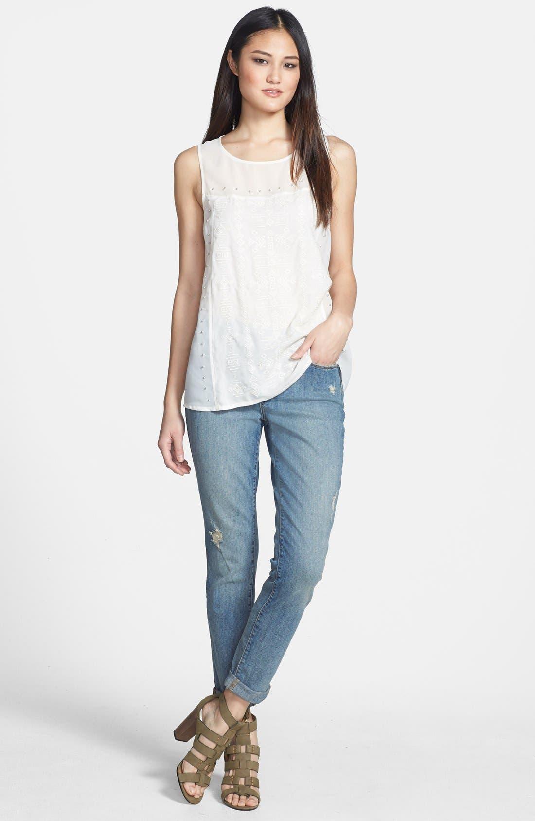 Alternate Image 4  - NYDJ 'Anabelle' Distressed Stretch Skinny Ankle Jeans (Lake Havasu) (Regular & Petite)