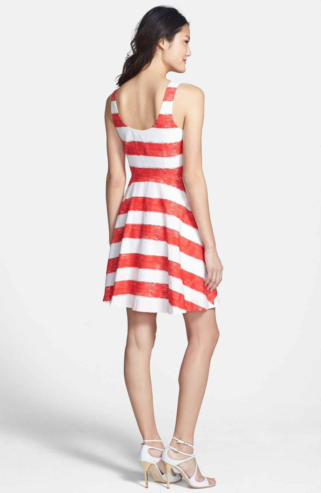 Alternate Image 3  - BB Dakota Stripe Cotton Fit & Flare Dress