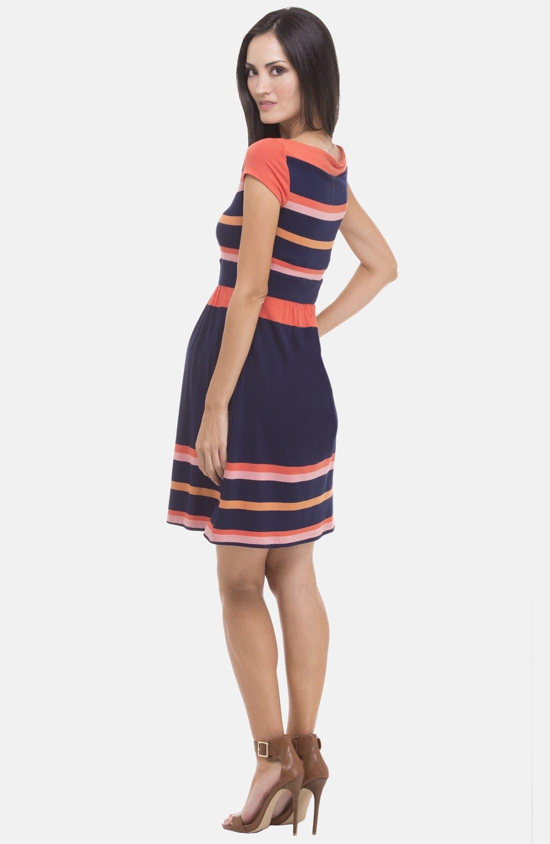 Alternate Image 2  - Olian Stripe Boatneck Maternity Dress