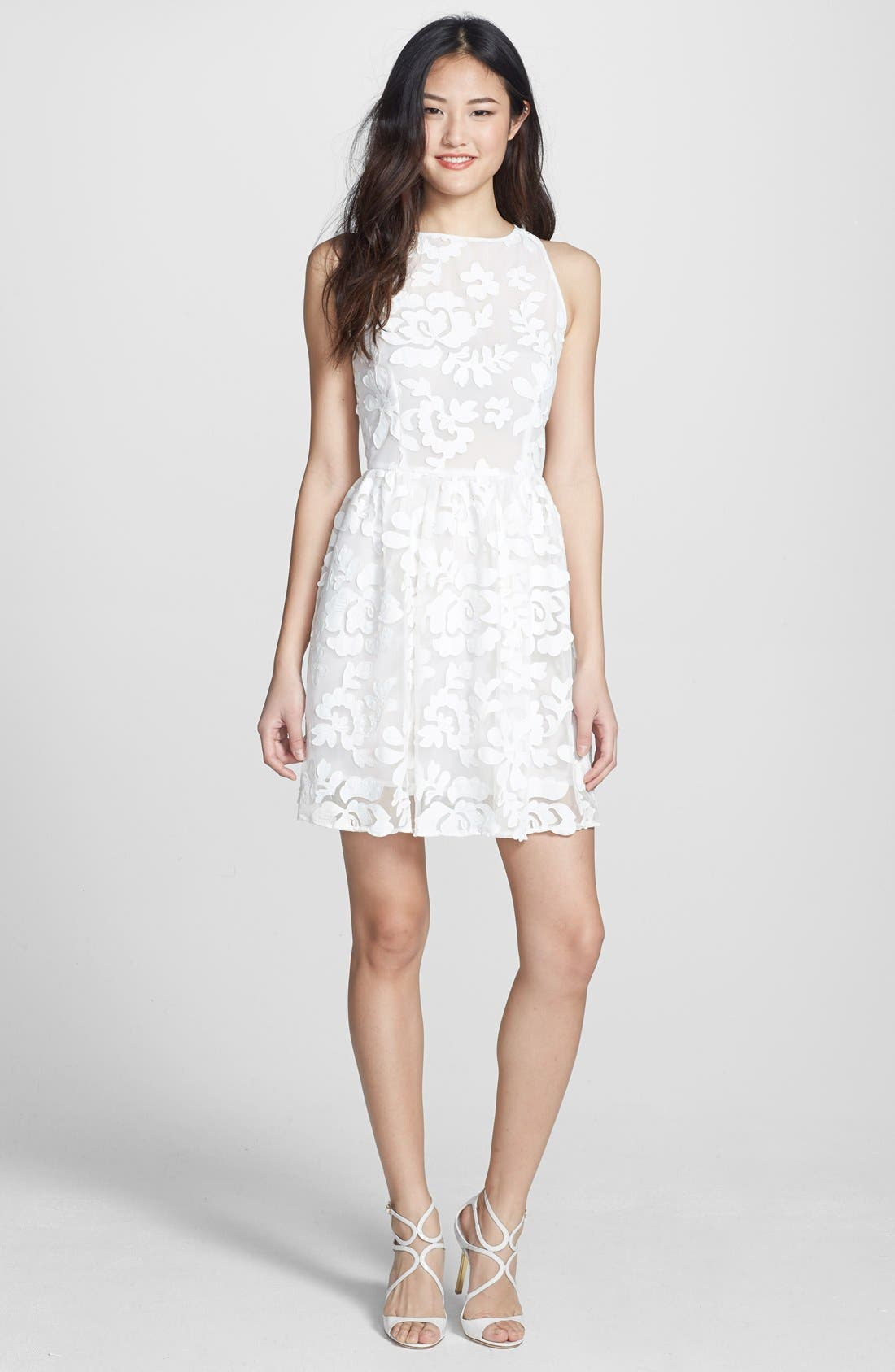 Alternate Image 1 Selected - BB Dakota 'Sibley' Faux Leather Appliqué Fit & Flare Dress