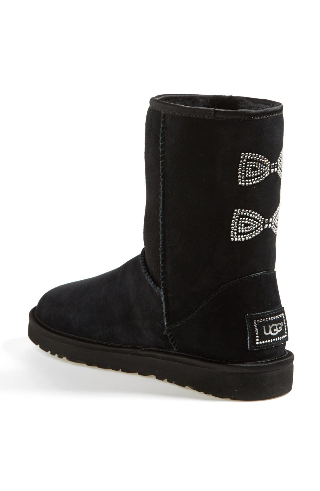 Alternate Image 2  - UGG® Australia 'Classic Short - Crystal Bow' Water Resistant Suede Boot (Women)