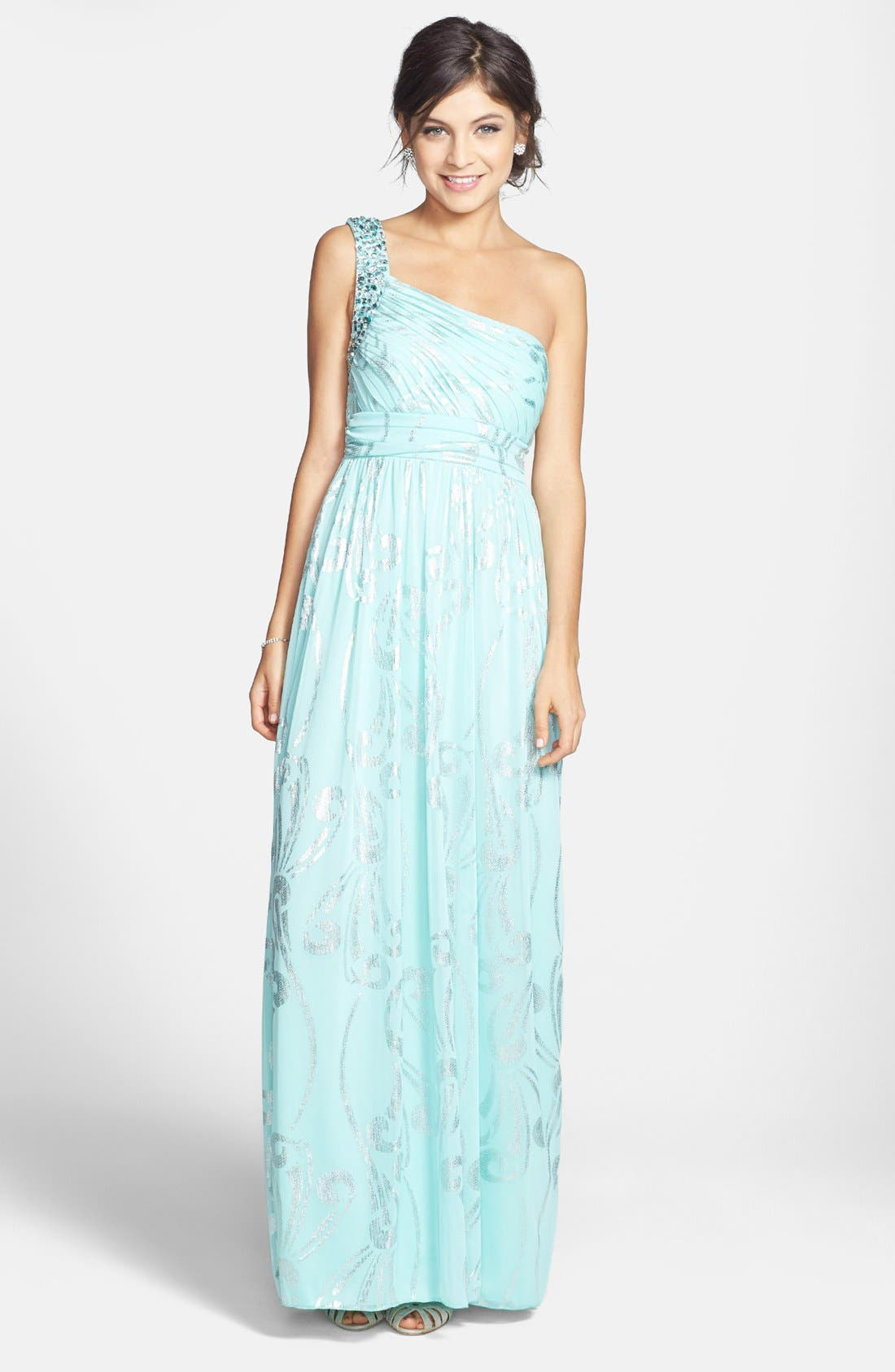 Alternate Image 1 Selected - Way-In Foil Print One-Shoulder Gown (Juniors)