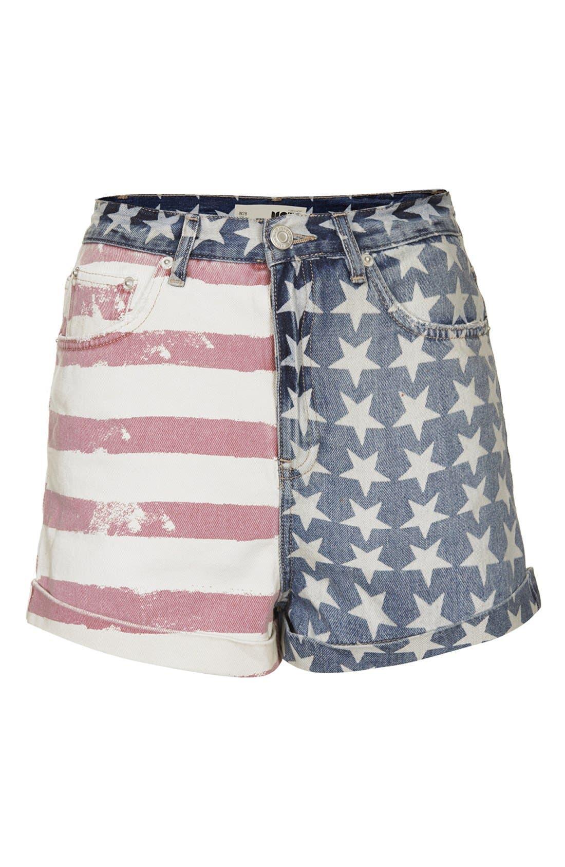 Alternate Image 1 Selected - Topshop 'Mom' Flag Print High Rise Denim Shorts
