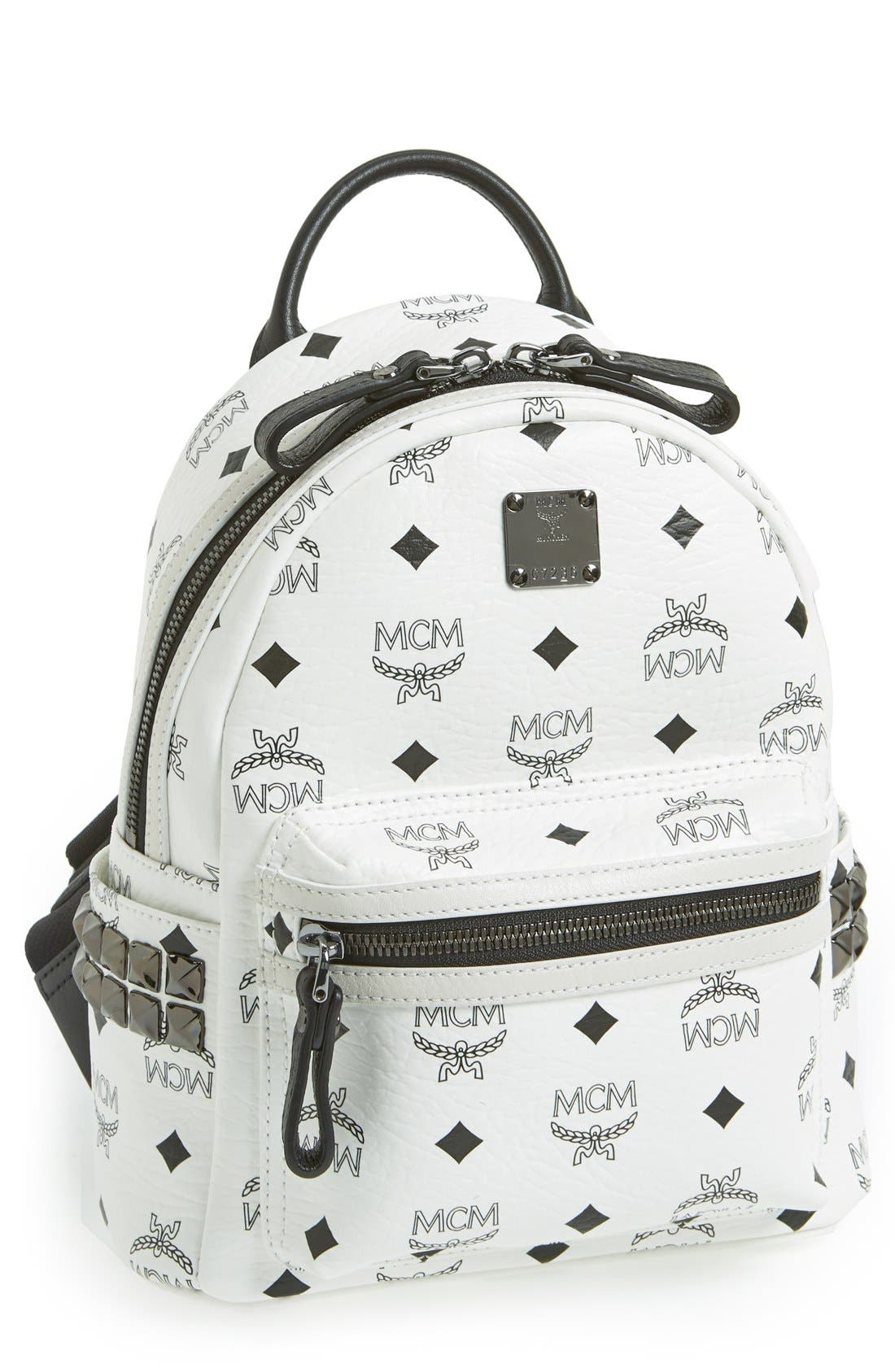 Main Image - MCM 'Mini Stark - Visetos' Studded Backpack (Nordstrom Exclusive Color)