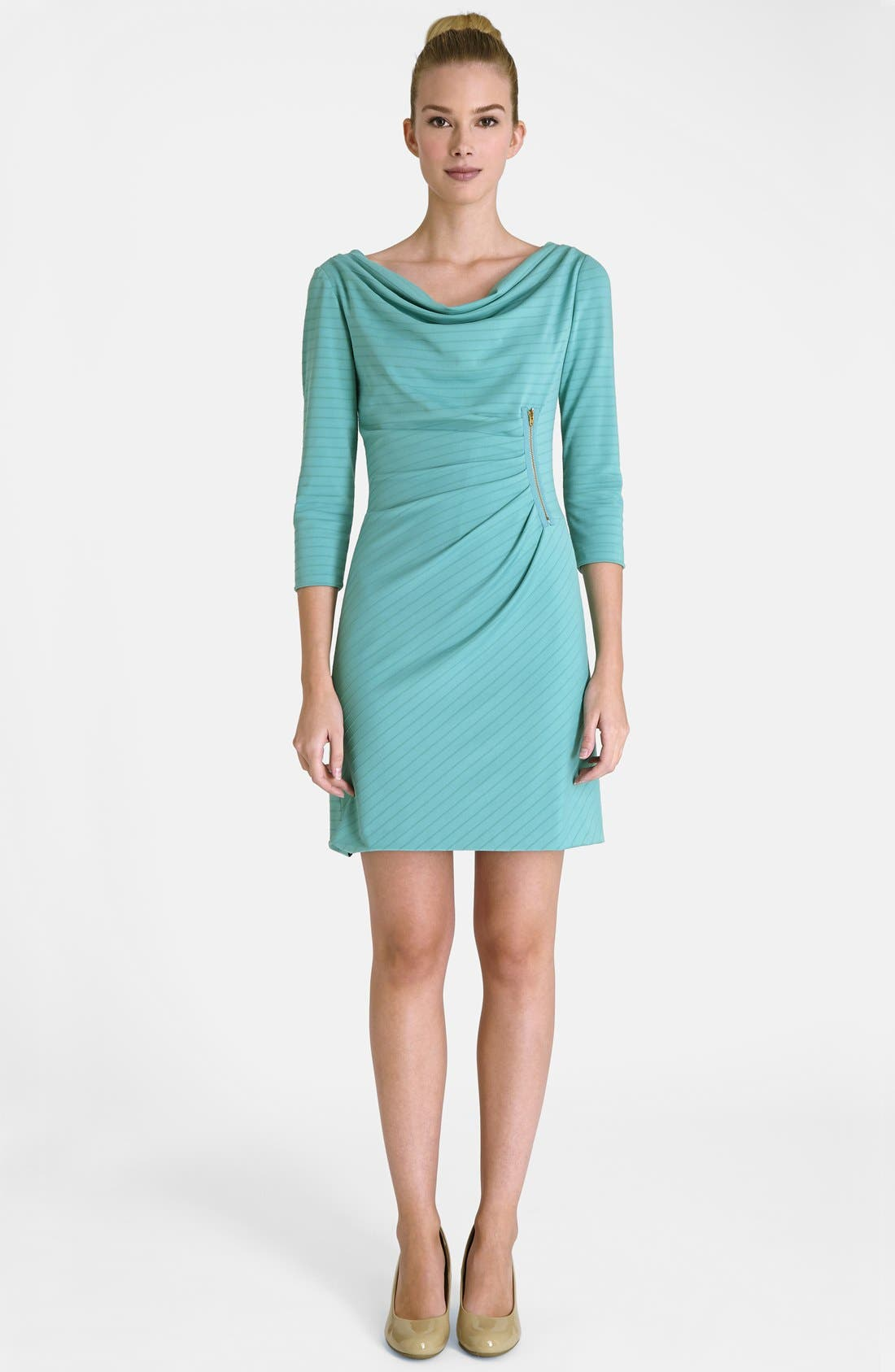 Alternate Image 3  - Tahari Zip Detail Drape Neck Textured Matte Jersey Dress