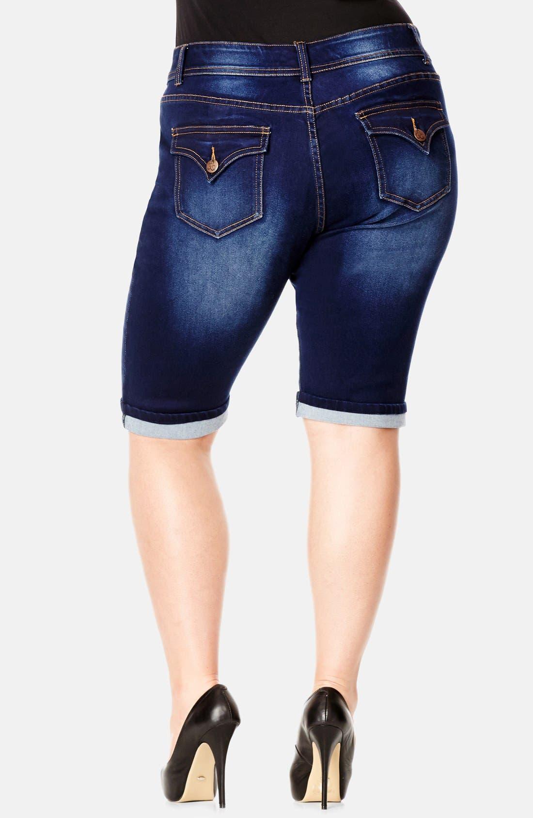 Alternate Image 2  - City Chic Denim Bermuda Shorts (Plus Size)