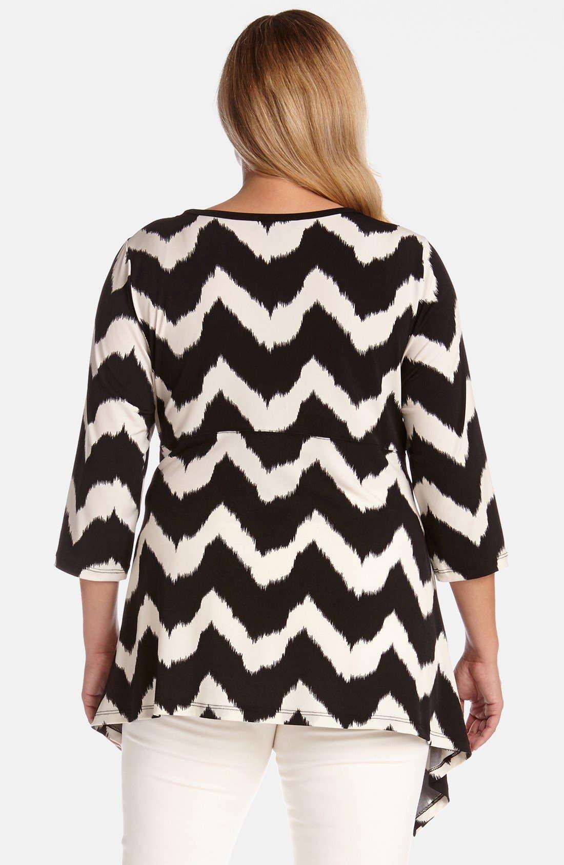 Alternate Image 2  - Karen Kane Zigzag Handkerchief Top (Plus Size)