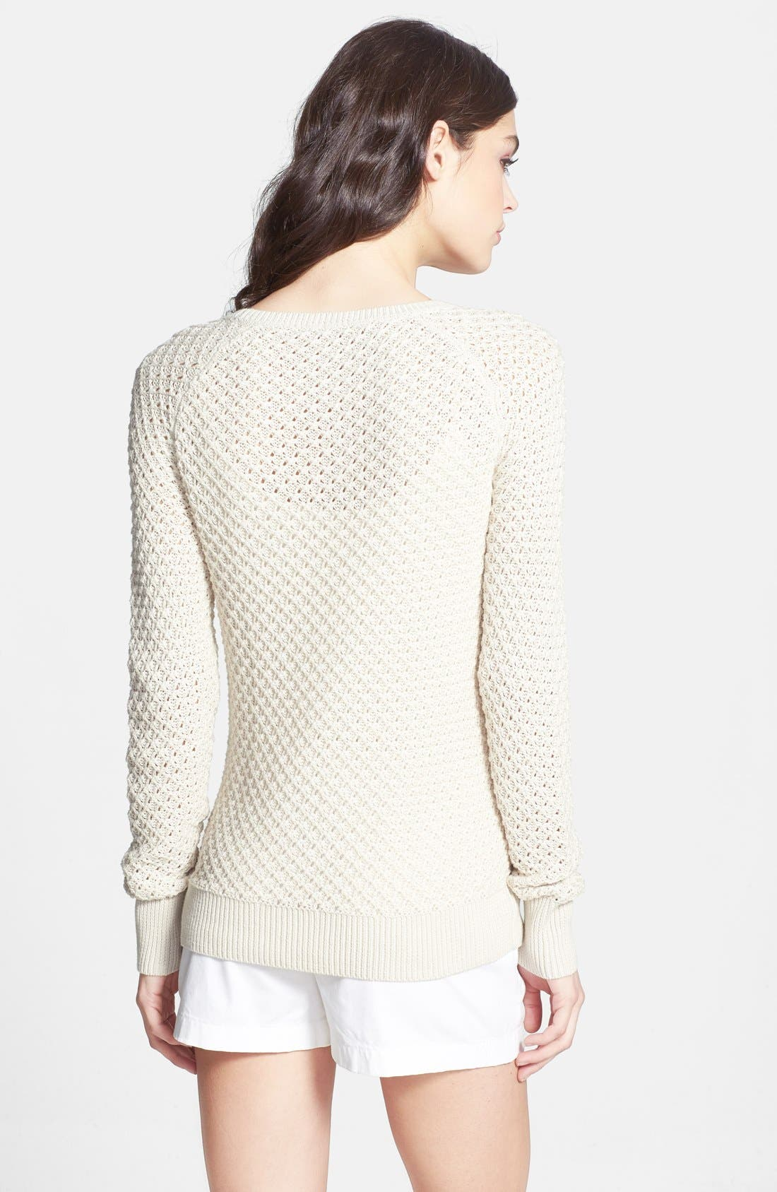 Alternate Image 2  - Caslon® Tuck Stitch Crewneck Sweater
