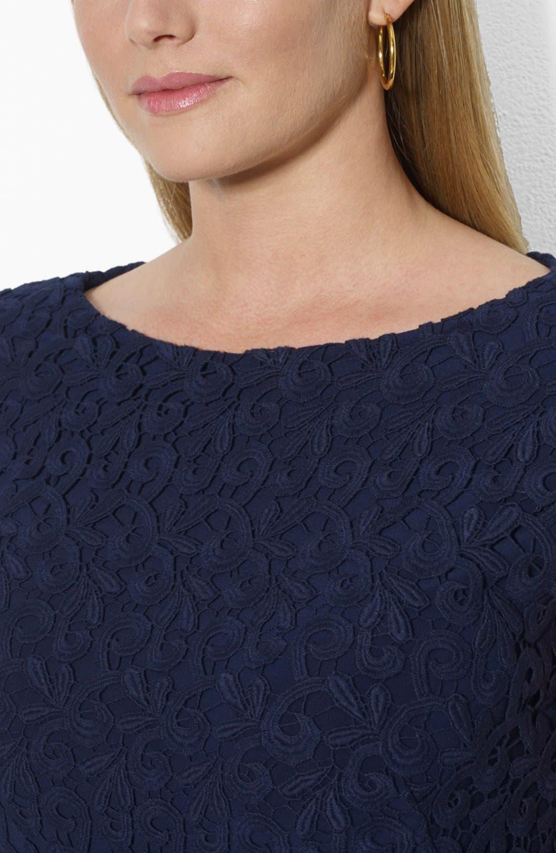 Alternate Image 3  - Lauren Ralph Lauren Boatneck Lace Sheath Dress (Plus Size)