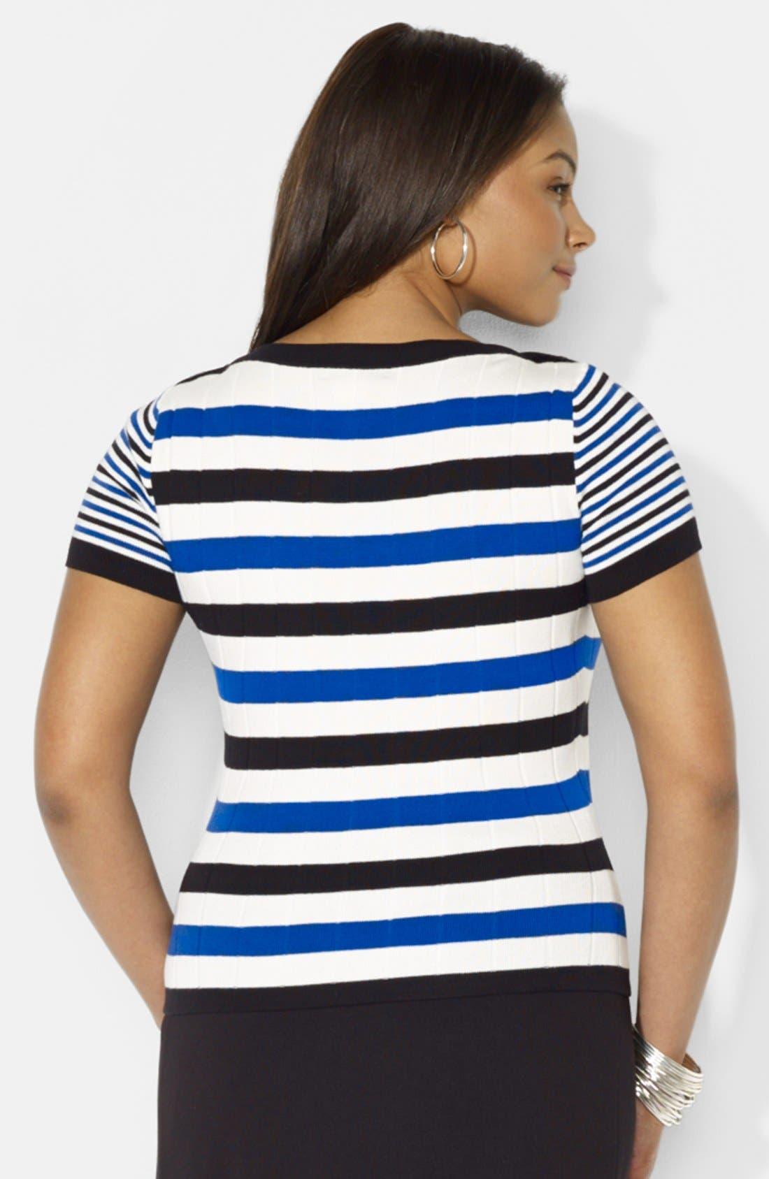 Alternate Image 2  - Lauren Ralph Lauren Short Sleeve Boatneck Sweater (Plus Size)